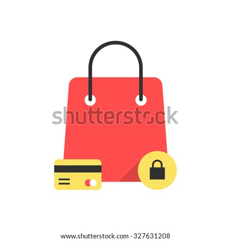 red bag icon like protected shopping. concept of commercial, shopper, ecommerce, promotion, black friday sale. isolated on white background. flat style trend modern logo design vector illustration - stock vector