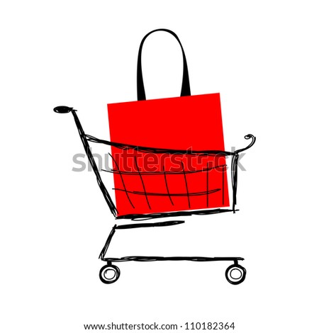 Red bag into shopping cart for your design - stock vector