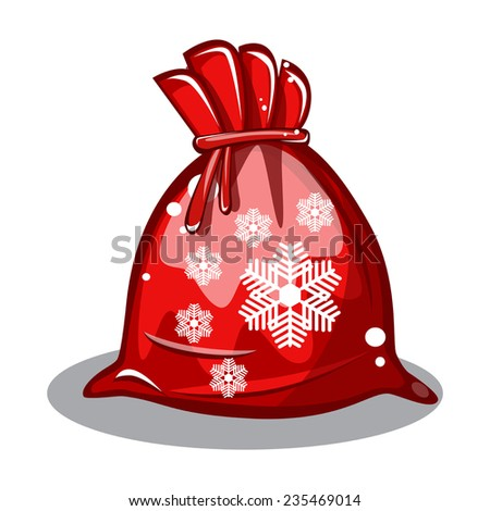 red bag Santa Claus with snowflakes on white background vector - stock vector