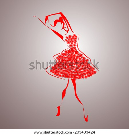 Red ballerina vector - stock vector