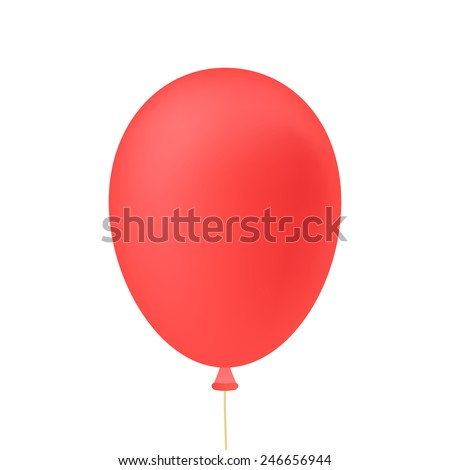 red ballon isolated on white background. concept of cheerful party, shopping, amusement and birthday celebration. flat style trendy modern logo design vector illustration - stock vector