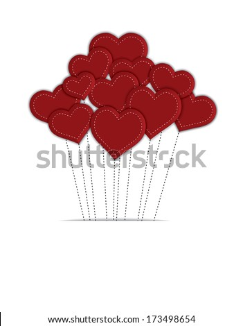 Red balloon hearts with stitched strings, on white background