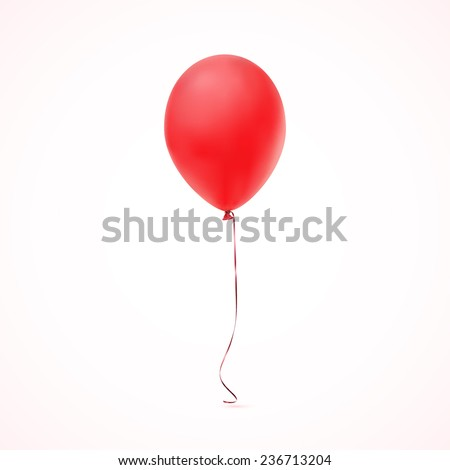Red balloon icon isolated on white  background. Vector illustration - stock vector