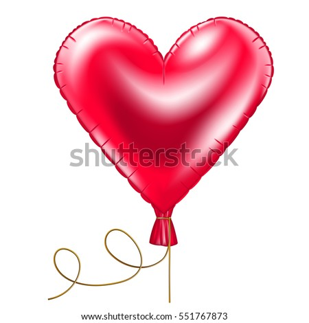 Red balloon in the shape of heart on white background.