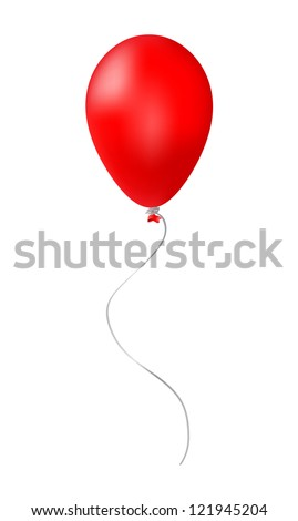 Red balloon isolated on white - stock vector