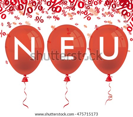 Red balloons and german text neu, translate new. Eps 10 vector file.