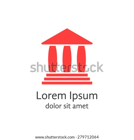 red banking house logotype. concept of lawyer, monumental, justice, library, facade, protection, capitol, theater. isolated on white background. flat style modern brand design vector illustration - stock vector