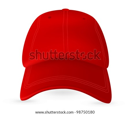 Red baseball cap template. Mesh & gradients only. - stock vector