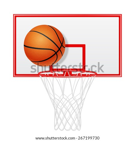 Red basketball backboard and ball. Isolated. Vector EPS10 illustration.  - stock vector