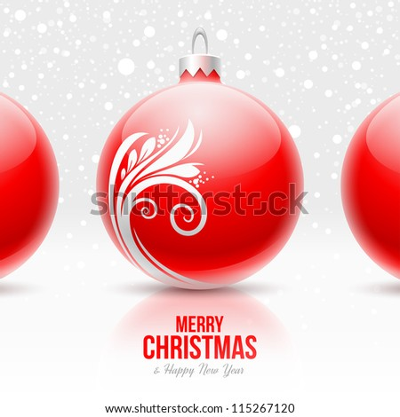 Red baubles with white decor - Christmas vector design - stock vector