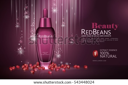 Red beans essence ads, natural droplet bottle with beans and glittering background in 3d illustration