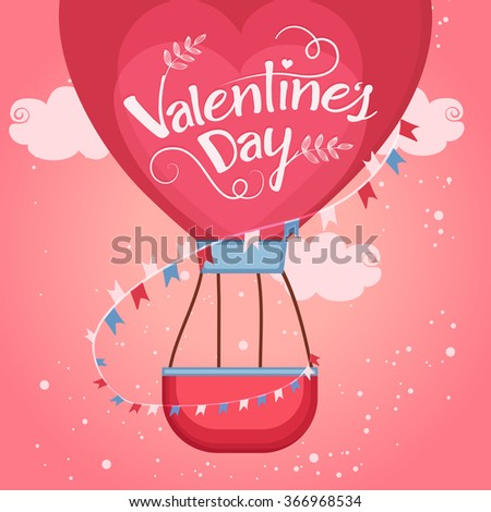 Red beautiful heart shaped hot air balloon flying in glossy cloudy background for Happy Valentine's Day celebration. - stock vector