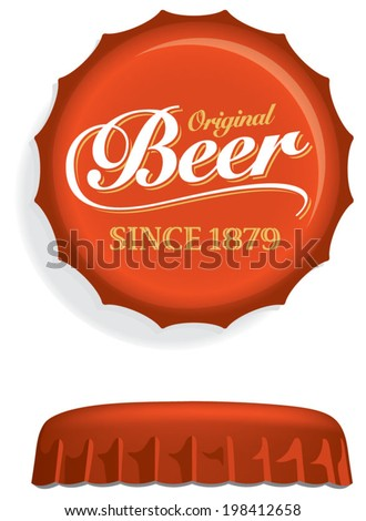 Red Beer Bottle Cap, Lid, Top or Crown, with white Beer script. Overhead and side view. Drawn with mesh tool. Fully adjustable & scalable. - stock vector