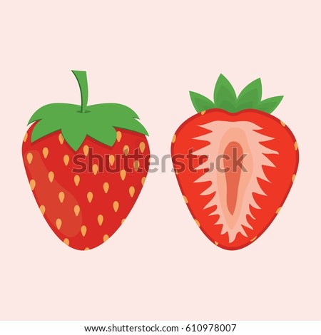 red berry strawberry and a half of strawberry isolated on white background, fruit