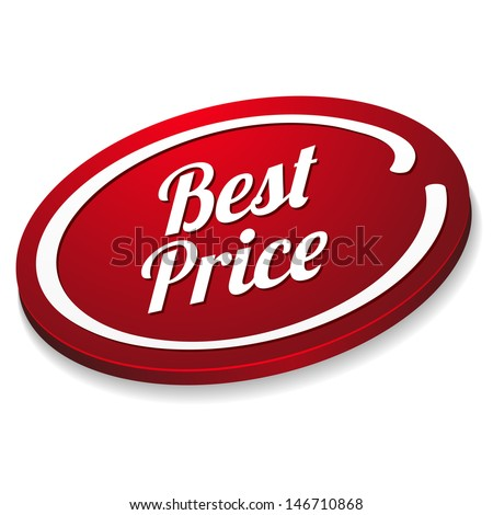Red best price button - stock vector