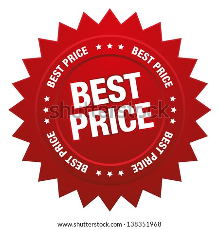 Red best price star button - stock vector