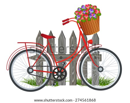 Red Bicycle - stock vector