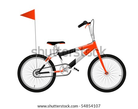 Red bicycle isolated on white