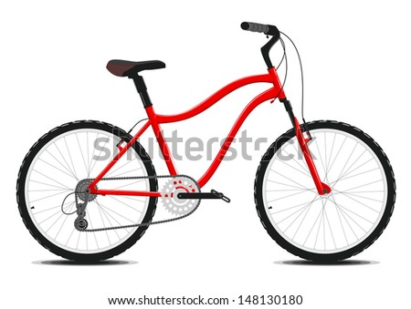 Red Bicycle on a white background. Vector illustration. EPS8