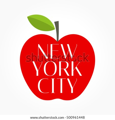 Red Big apple New York City. Vector illustration