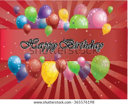 red birthday card with baloones - stock vector