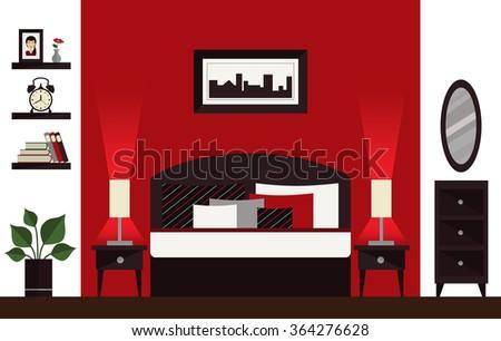 Red, black and white bedroom illustration. Flat interior design. - stock vector