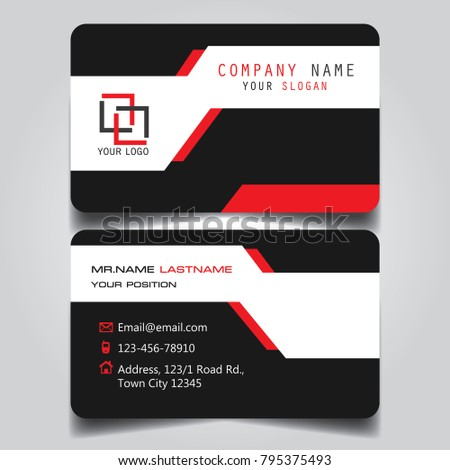 Red black white creative modern name stock vector 795375493 red black and white creative modern name card and business card with horizontal standard size vector reheart Choice Image