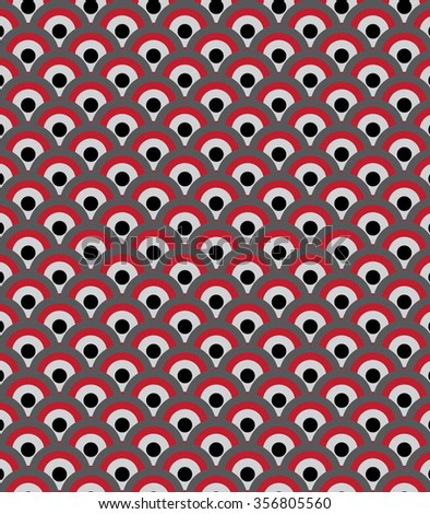 Red black gray and white concentric circles abstract pattern. Vector Illustration