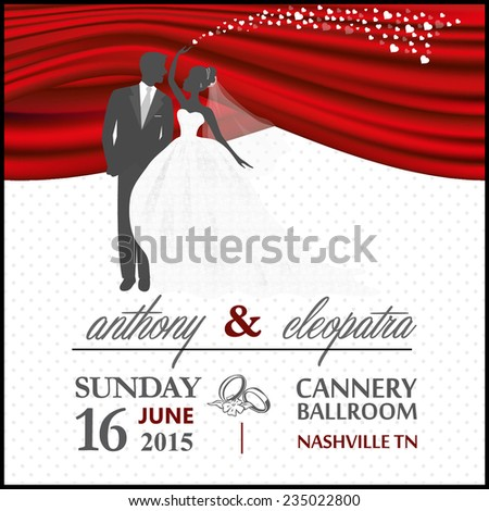 Red black groom bride wedding invitation stock vector 235022800 red black groom and bride wedding invitation vector template stopboris Images