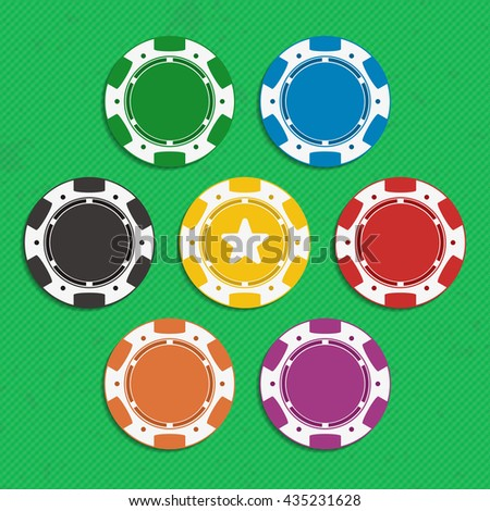 Red, black, orange, yellow, violet, blue and green poker chip isolated on white background. Illustration of casino chips in flat style.