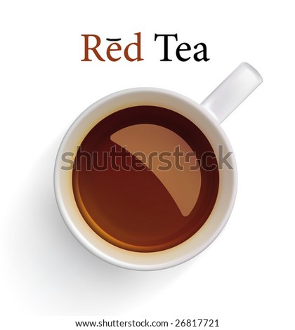 Red (black) tea in white cup. Vector image, made with gradient mesh. - stock vector