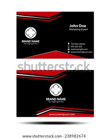 Red black two sided business card - stock vector
