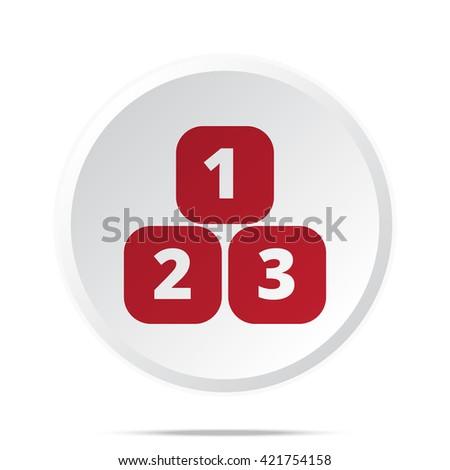 Red 123 Blocks icon on white web button - stock vector