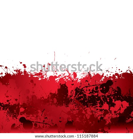Red blood splatter background with dribble effect - stock vector
