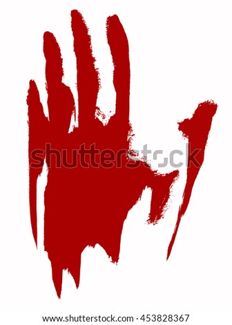 Red bloody handprint on a white background. EPS 10
