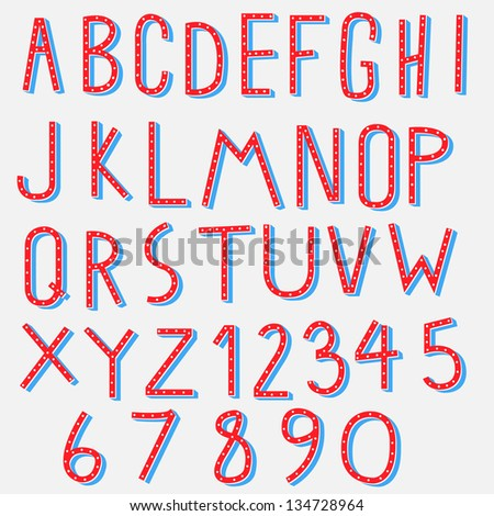 red blue alphabet - stock vector
