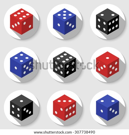 Red, blue and black casino dice on a white background. Set of icons with long shadows. Vector illustration - stock vector