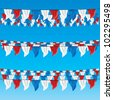 red, blue and white bunting flags set for july 4th, top view, bottom view - stock vector