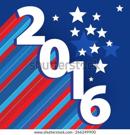 Red, blue and white contemporary 2016 design suitable for any patriotic events and holidays. Vector illustration and photo image available. - stock vector