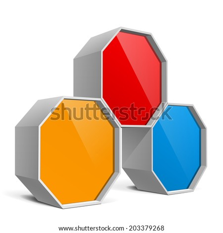 Red, blue and yellow Package Box. infographic template Vector illustration. - stock vector