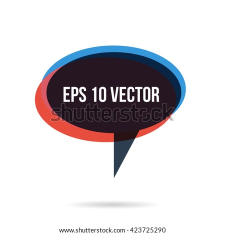 Red blue cloud bubble speech with abstract text, concept of dialog balloon, vector illustration - stock vector