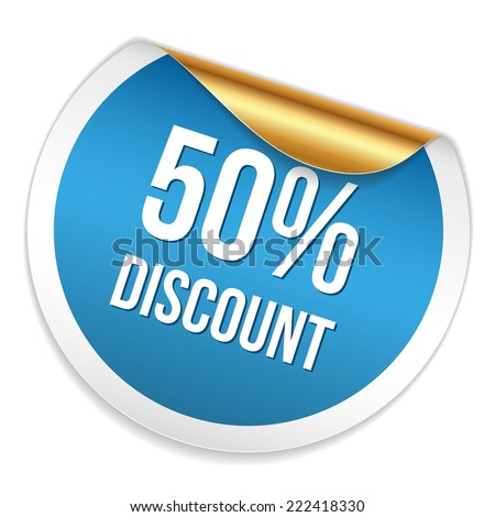 Red blue fifty percent discount sticker on white background - stock vector