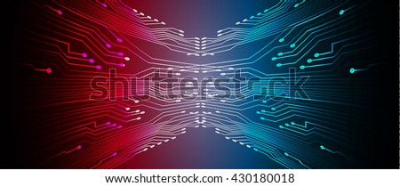 red blue high tech circuit board, abstract circuit board, CPU, PC computer - stock vector