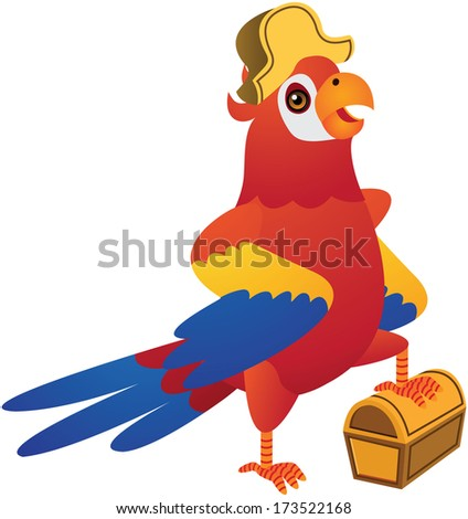 Red Blue Parrot Vector Cartoon Illustration - stock vector