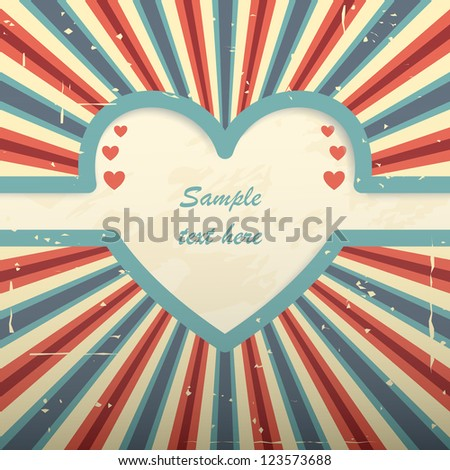 Red blue retro card with heart shaped place for text and radial rays. - stock vector