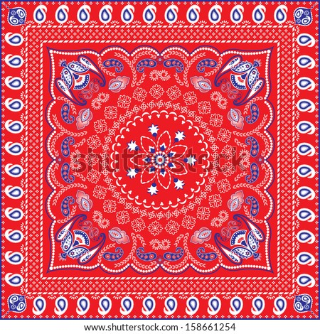 Red, Blue & White Retro Patterned Bandana or Head Scarf