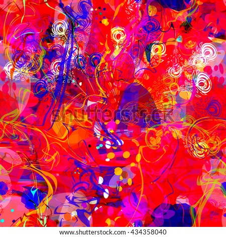Red, blue, yellow and purple. Pigmented spots and lines. Ebru. Liquid. Artistic seamless pattern. Vector. Easy editing. Stylized feathers, ovals, circles and wavy lines. - stock vector