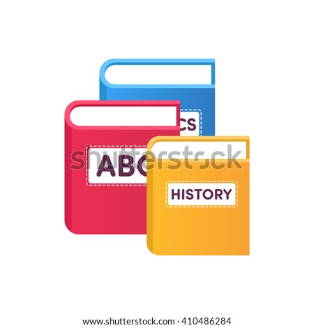 Red, blue, yellow books  - stock vector
