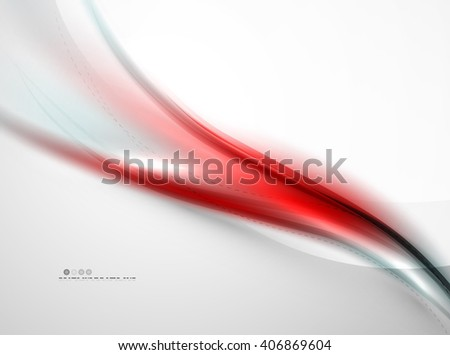 Red blurred smooth wave on white background. Vector corporate identity design - stock vector