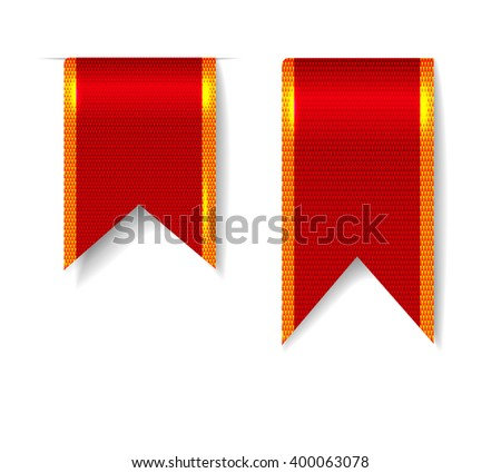 Red bookmark ribbons set - stock vector